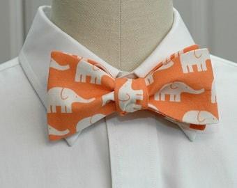 Men's Bow Tie, orange with ivory elephants, zoo wedding bow tie, elephant lover gift, elephants bow tie, groom bow tie, cute groomsmen gift