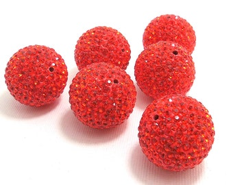 CLEARANCE: Crystal Pavé Style Bead, Red-Orange, Round, Disco Ball, 24mm, Big, 2pcs - ID 1112