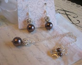 Swarovski Burgundy Large  Pearl and Rhinestone Necklace and Earring Set/ Personalized Bridesmaid Pearl Jewelry /Wedding Jewelry/Choose Color