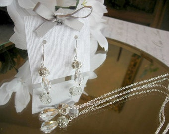Swarovski Clear Crystal Teardrop and Rhinestone Necklace and Earring Set - Brides or Bridesmaid Jewelry Set