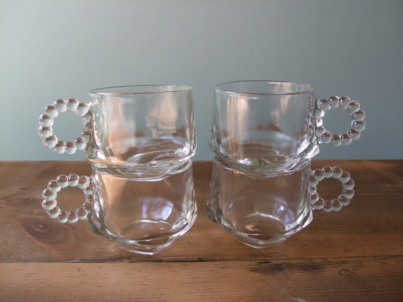 Bubble Handled Mug Set, Clear Glass Four Small Cups