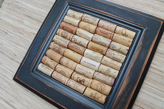DIY Wine Cork Bulletin Board Kit - made from reclaimed wood - distressed black