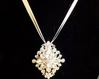 Brooch Necklace Diamond Rhinestone Bridal Wedding Evening