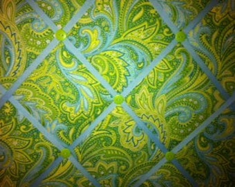 Lime Green and Light Blue Paisley Photo Memory Board