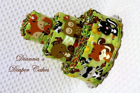 Baby Diaper Cakes Woodland Animals Forest Creatures Baby Shower Gift or Centerpiece