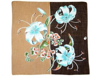 Vintage Hankie Mid-Century, 3 Huge Aqua Lilies on Split Brown & Tan Field, Original Label, Never Used, Hand Rolled Hem, Geometric