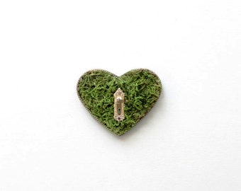 The Secret Garden --- a real moss heart necklace with a miniature doorknob, keyhole, and bold chain