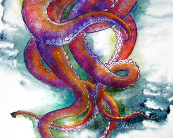 Octopus tentacles dancing colorful watercolor print for Colorful octopus painting
