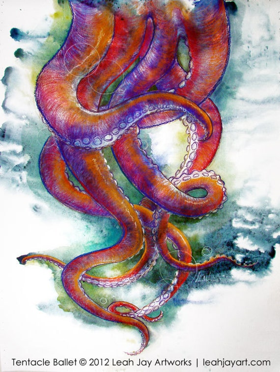 Items similar to octopus tentacles dancing colorful for Colorful octopus painting