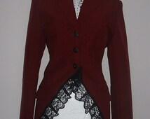 red jacket coat long fantasy goth steam punk burlesque corset US size 8 10 12
