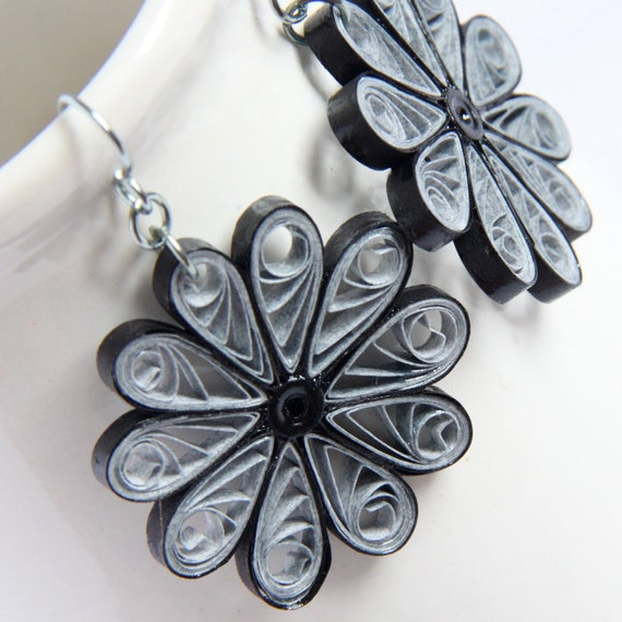 CIJ 30% off Large Grey Flower Earrings Niobium Paper Quilled Eco Friendly Jewelry, Artisan Jewelry hypoallergenic