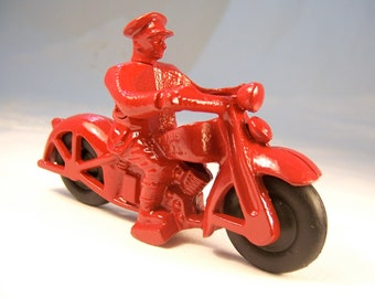 Toy cop motorcycle, red cycle black rubber wheels, stocking stuffer, birthday, holiday gifts for men boys women 1930s vintage reproduction.