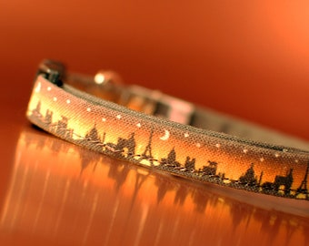 Paris at Night Skyline Cat Collar with Eiffel Tower Charm