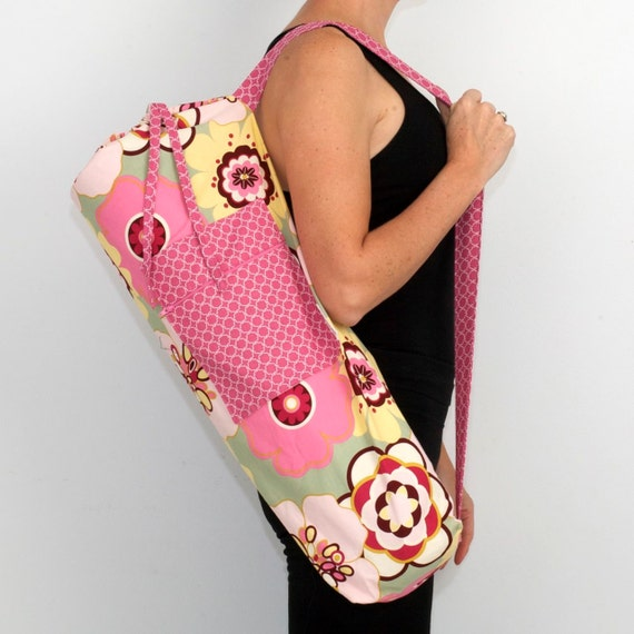 FREE SHIPPING- Yoga Bag in Modern Pink with a Zipper Pocket