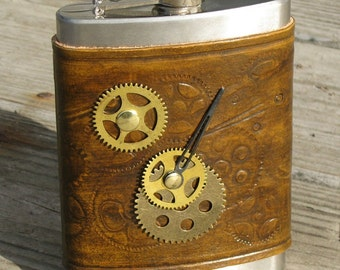 Steam Punk Leather Covered FLask
