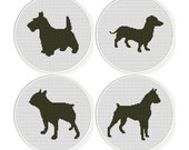 Cross stitch pattern sets , Sale ,4 Cross-Stitch PDF, dog  sets 4