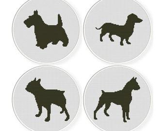 Cross stitch pattern sets , Sale ,4 Cross-Stitch PDF, dog  sets 4