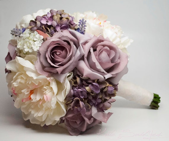 lavender rose hydrangea and peony shabby chic wedding bouquet