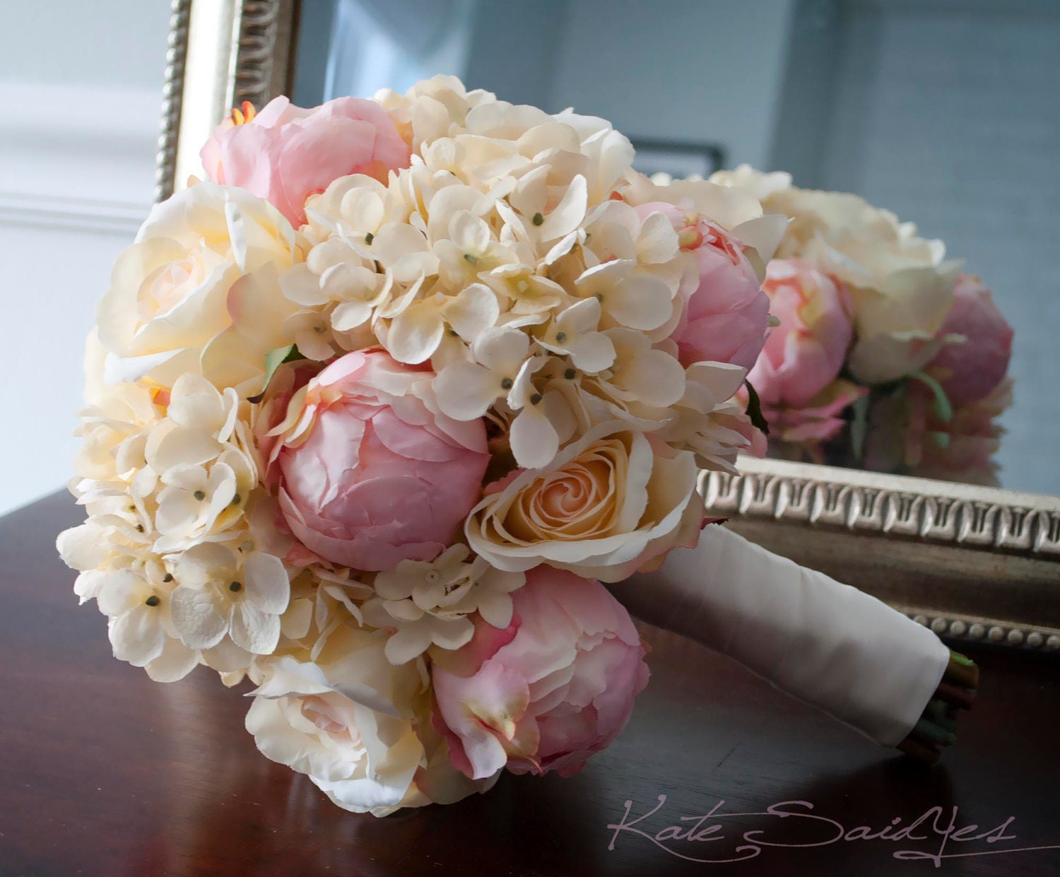 shabby chic wedding bouquet peony rose and hydrangea ivory. Black Bedroom Furniture Sets. Home Design Ideas