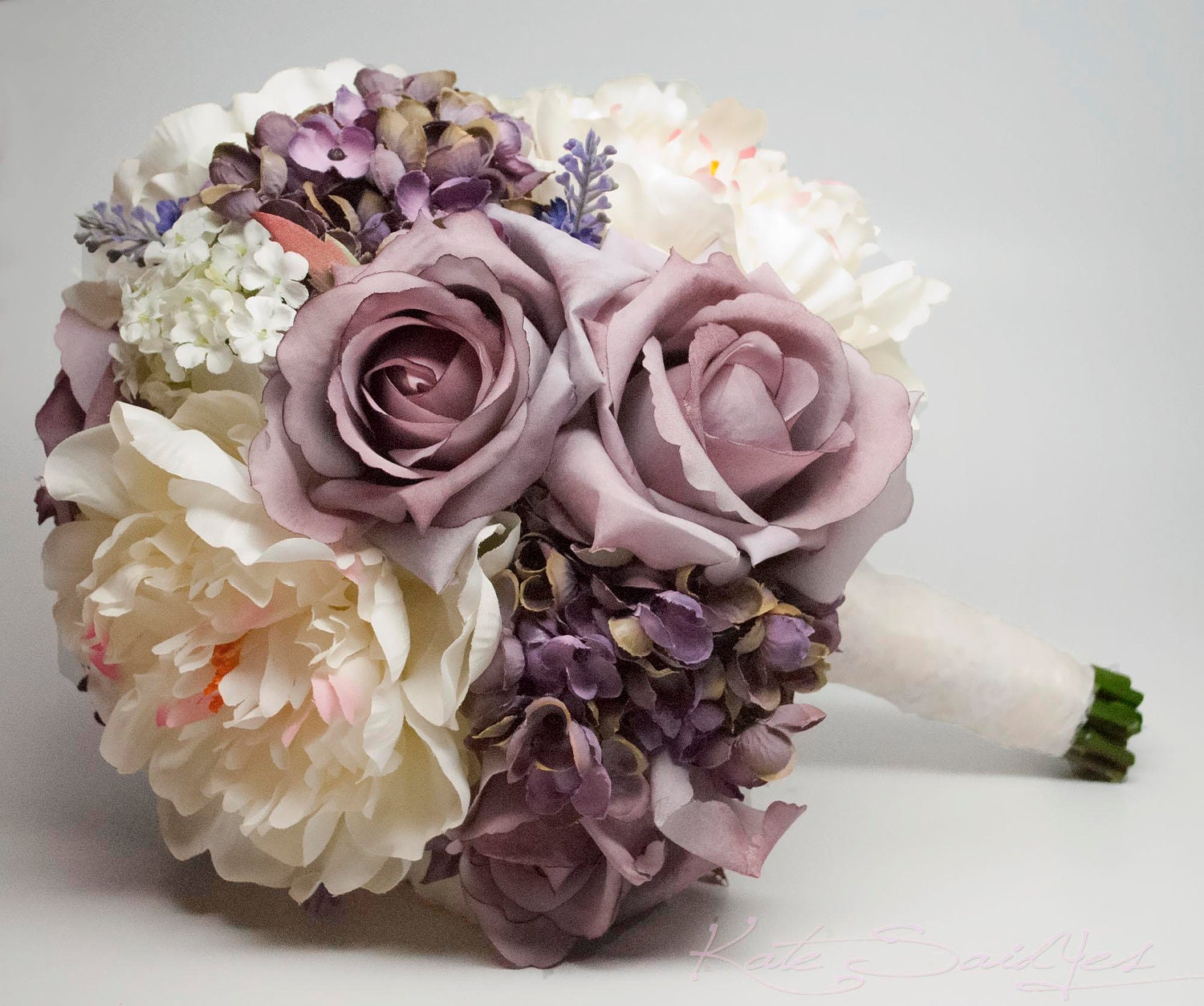 Lavender rose hydrangea and peony shabby chic wedding bouquet for Wedding bouquets