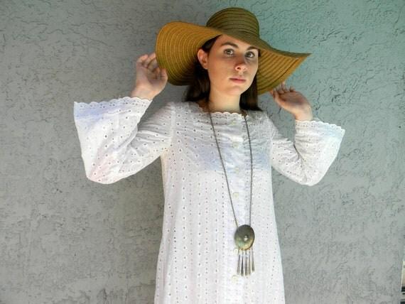 Barefoot Hippie Wedding - Vintage 70s/80s White Eyelet Lace Cotton Maxi Dress w/ Bell Sleeves - Boho Semi Sheer Lounge Dress