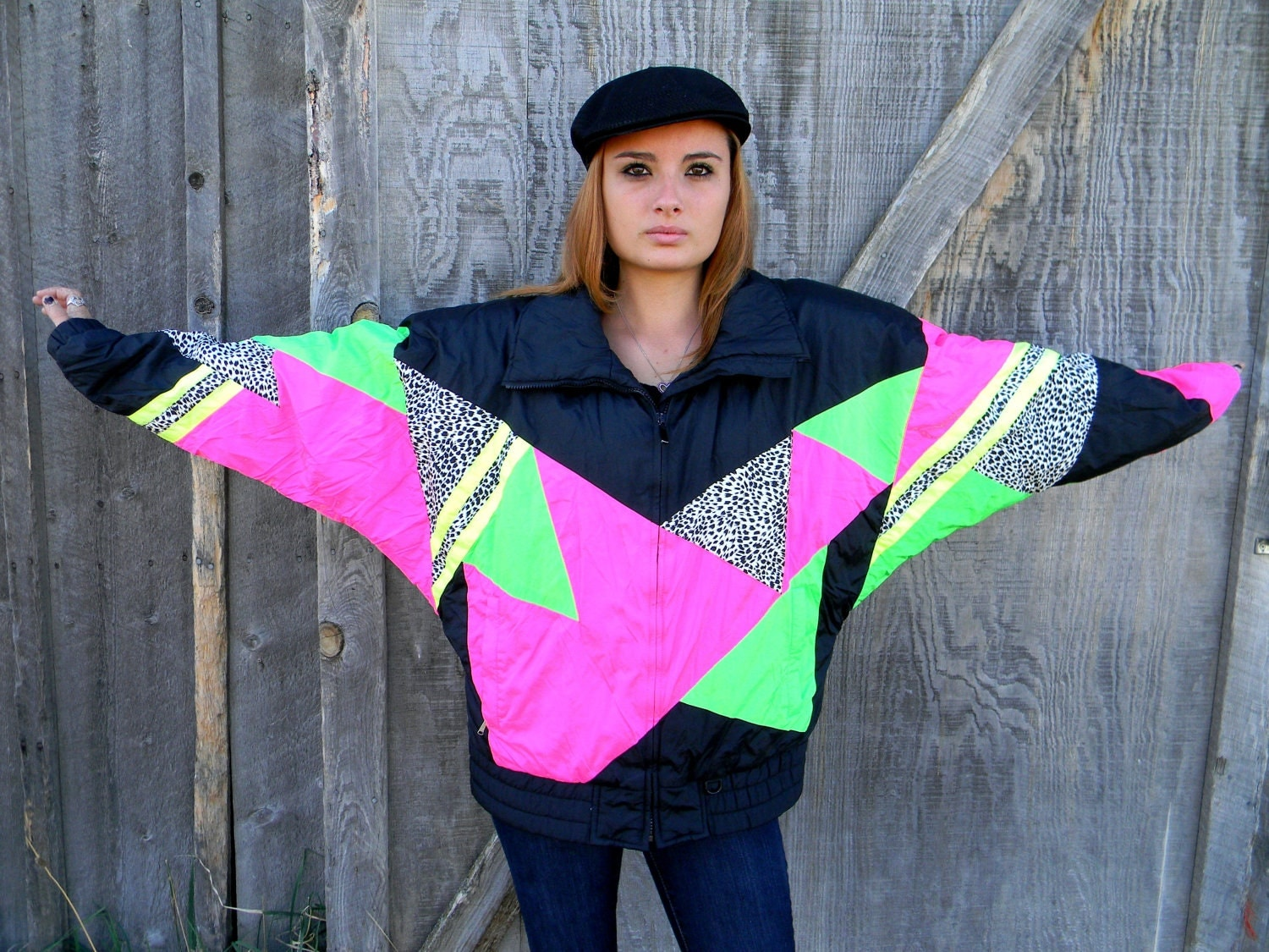 Vintage 80s 90s Hot Neon Pink Green Yellow Black White Puffer
