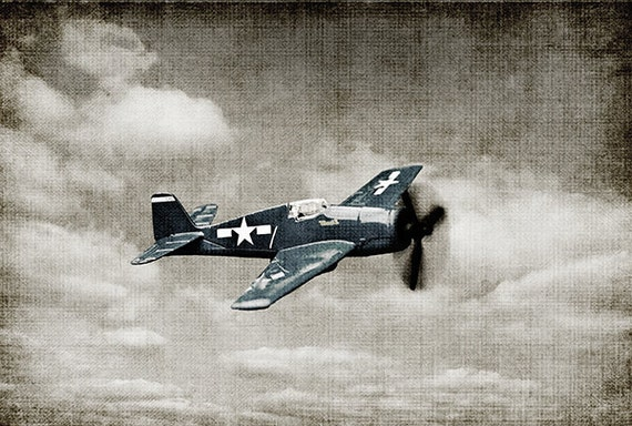 Vintage WWII Prop Plane Blue Fighter Photo Print, Man Cave, Boy Nursery Art, Airplane Prints