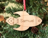 Wooden Rocket Christmas Ornament Babys First Christmas Personalized Kids