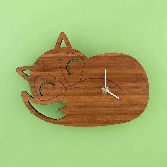 bambou couchage fox kids horloge decor de chambre de b b. Black Bedroom Furniture Sets. Home Design Ideas
