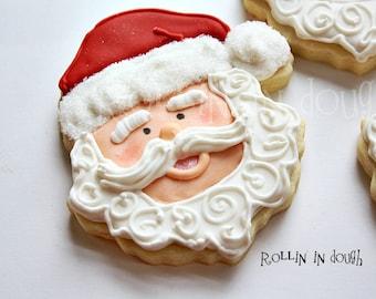 Santa Cookies, Christmas Cookies, Santa Claus Cookies - 1 Dozen