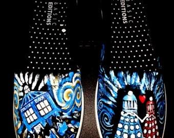 DALEK LOVE Doctor Who Shoes Sneakers   Handpainted Tardis Dalek holding hands Van Gogh swirls Bow Ties are Cool Exterminate
