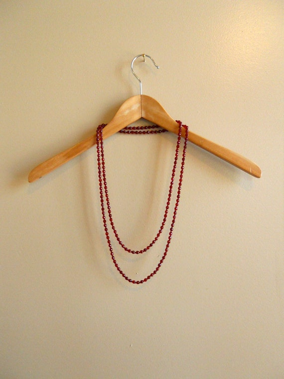 1920s / 1930s Ruby Red Glass Beaded Flapper Necklace
