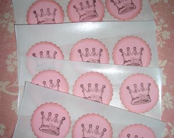 Princess  Stickers - Seals -  Crown - Little Girl - Baby Shower - Set of Twelve