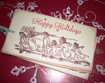 Christmas Tags - Children Ice Skating - Victorian Image - Vintage - Set of Six