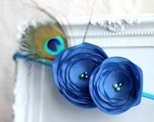 WINTER SALE 40% off Blue Flower Headband, Peacock Feather, Fabric Flowers, Flower Hair Accessories, Ready to ship