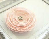 CLEARANCE - all must go, Valentines day Pastel Pale pink fabric brooch, Fabric flower brooch, rhinestone button, cherry blossom pink color