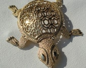 Vintage Large Turtle Pendant with dangle feet and tail geometric design