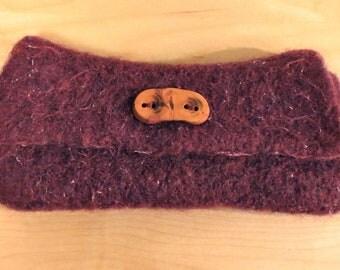 Rustic Wool Felt Clutch Purse in plum- natural wood button