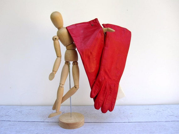 Ruby Red Leather Gloves - Silk Lined - Never Worn Size 6.5 - Mid Length Long