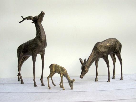"Brass Deer Pair - Woodland Deer Figurines Extra Large 14"" Tall - Christmas Decor"