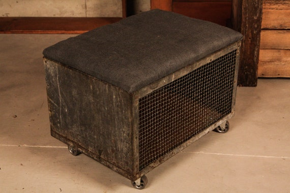 Vintage Animal Crate Adapted to Footrest, Bench, Storage on Casters