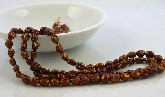 Brassy brown keshi nugget pearls 5-6mm 1//4 strand