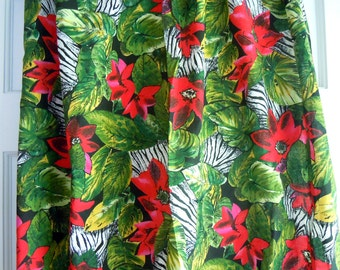 Jungle Print Vintage Floral Fabric- 1 Plus Yard- Zebra Print- Jungle Flower- Jungle Leaves