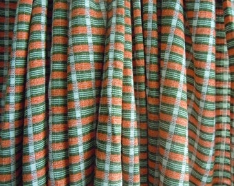 Orange and Green Checkered Vintage Fabric- 3 Yards- Woven Polyester Blend