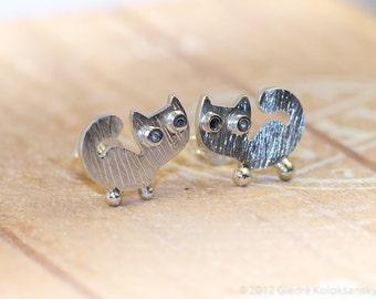 Kitty CAT Stud  and snowman dangle earrings for Martha