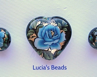 NEW LOVELY Blue Rose on Black Heart  Japanese Tensha Bead Set