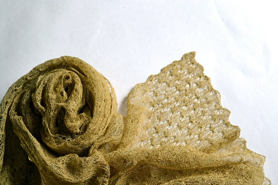 CIJ Mustard Gold Linen Scarf / Shawl / Wrap / Stole Knitted Gauzy Lace