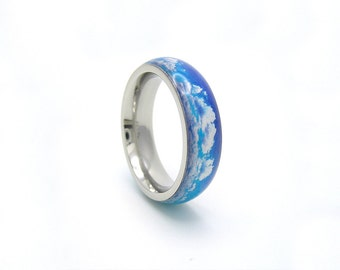 fluffy clouds ring - stainless steel and resin