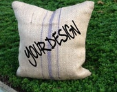 ONE Custom Eco Throw Pillow Cover, Handmade from a Recycled Coffee Sack (CC)