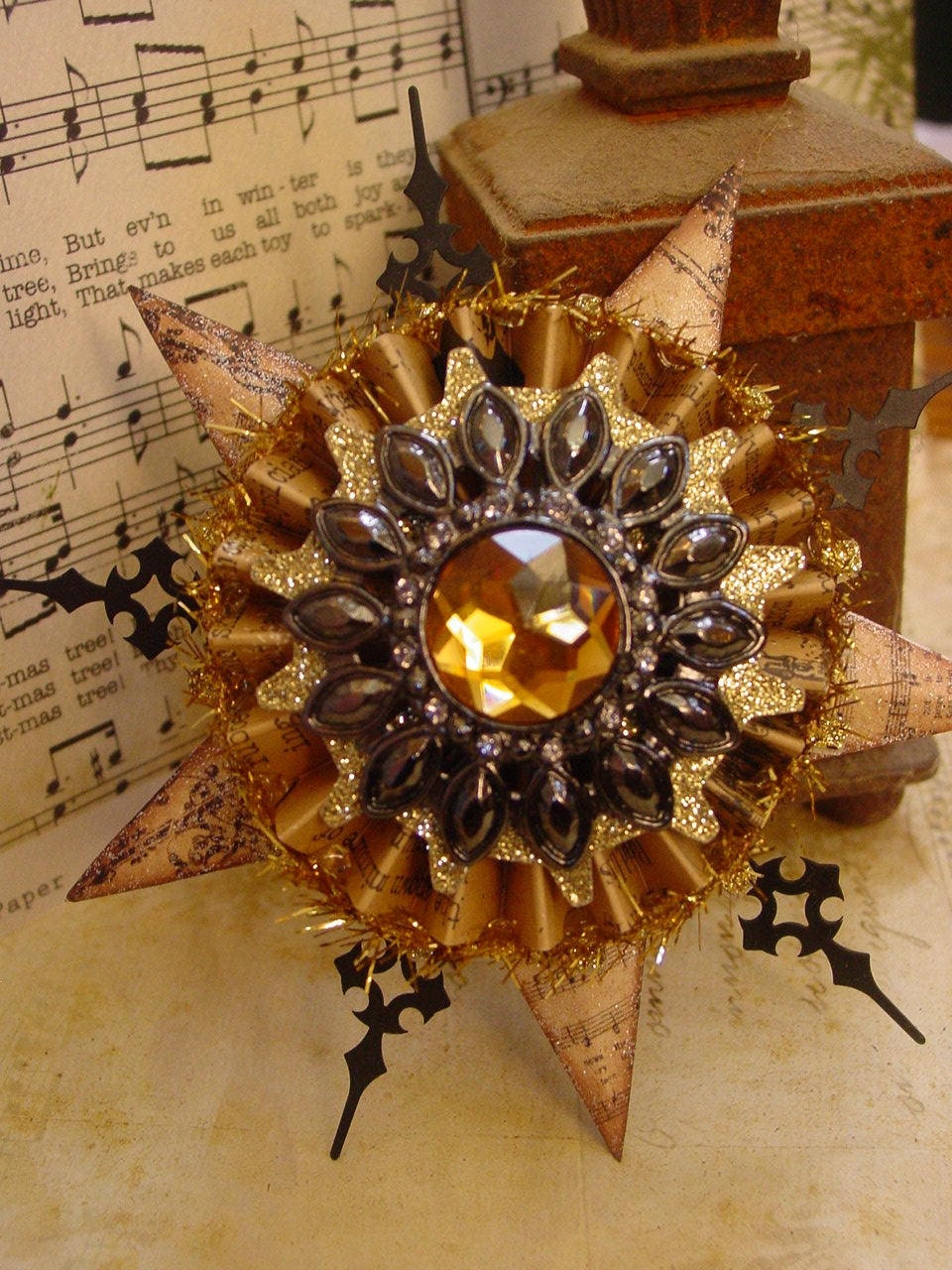 Altered Art Steampunk Style Assemblage Christmas Ornament